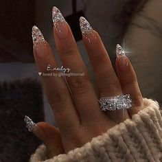 "TheGlitterNail 🎀 Get inspired! on Instagram: ""✨ Glitter Fade with Crystals on long Almond Nails ✨ • 💅 Nail Artist: @e_nailzz 💝 Follow them for more gorgeous nail art designs! •"""