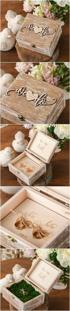 Wooden Ring Bearer Box - We Do <3 custom engraving #ringbox #weddingring #rustic #country #realwood #weddingideas