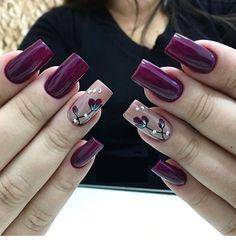 Amazing wine red nail polish spring nails 17 Amazing Nail Polish Hacks That You'll Love Spring Nail Art, Spring Nails, Fall Nails, Purple Nails, Red Nails, Matte Nails, Acrylic Nail Designs, Nail Art Designs, Nails Design