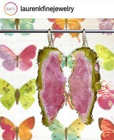 @laurenkfinejewelry Stunning Tourmaline slice earrings Tourmaline Jewelry, Spirituality, Drop Earrings, Crystals, Drop Earring, Chandelier Earrings, Crystals Minerals, Crystal