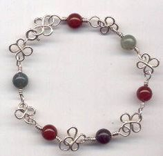 wire flower and bead bracelet tutorial