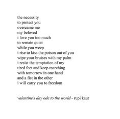 Sexy, passionate love can be hard to describe, but Rupi Kaur has a knack for saying JUST the right things in her poems. These Rupi Kaur quotes about love PROVE it. Poem Quotes, Heart Quotes, Daily Quotes, Words Quotes, Sayings, Sweet Quotes, Writing Quotes, Rupi Kaur Quotes, Milk And Honey Quotes