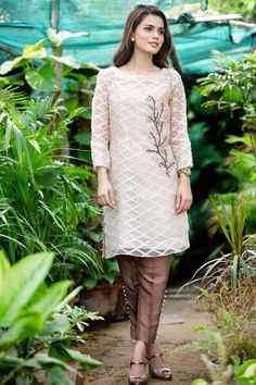 Fawn Top With Pant By Sobia Nazir For Eid 2017
