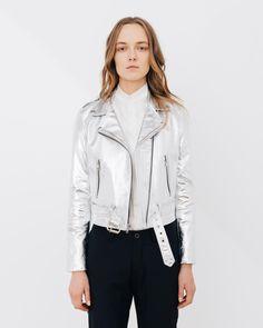 Silver Shrunken Moto metallic leather jacket