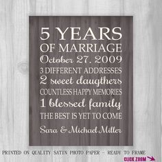 5th Anniversary Gift Print Wood 5 Years 10, 15, 20, 25 Custom Years Personalized Important Dates  Marriage Art Modern Wood Background
