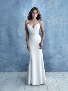 Spaghetti Strap Crepe Sheath Wedding Dress on Kleinfeld Bridal Fairy Wedding Dress, Sheath Wedding Gown, Bridal Wedding Dresses, Designer Wedding Dresses, Bridal Style, Bridesmaid Dresses, Mermaid Wedding, Crepe Dress, Allure Bridals