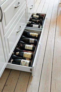 Design Idea – Include Toe Kick Drawers In Your Cabinetry For Extra Storage Kitchen Design Idea - Toe Kick Drawers // They are perfect for wine storage.Kitchen Design Idea - Toe Kick Drawers // They are perfect for wine storage. Smart Kitchen, Kitchen And Bath, Kitchen Decor, Kitchen Ideas, Awesome Kitchen, Cheap Kitchen, Kitchen Pantry, Design Kitchen, Country Kitchen