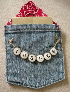 Now how cute is that! - recycled denim pocket for a notecard or well, anything you can think about. sooo sweet