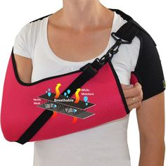ARM SLING with IMMOBILISER STRAP: An Injury Support for shoulder injuries, arm fractures, post shoulder surgery and post arm surgery. Available in both Adult and Child sizes. Colours Available: Raspberry/ Lime Green/ Sky Blue/ Black.