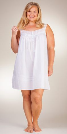 354f3791bd332 Plus Eileen West Cotton Lawn Waltz Sleeveless Nightgown - Lace Appeal  Nightgowns, Lawn, White