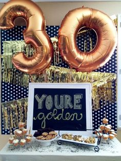 Themes for Your Birthday Party 16 themes for your birthday party. Plan the ultimate birthday celebration! Loving these gold number themes for your birthday party. Plan the ultimate birthday celebration! Loving these gold number balloons. 30th Birthday Party Themes, Golden Birthday Parties, Elegant Birthday Party, 30th Party, Adult Birthday Party, 50th Birthday, Birthday Celebration, 30th Birthday Ideas For Girls, Number Balloons Birthday