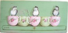 Original Painting on Chippy Green Panel - Birds & Tea Cups - Postage is included in the Price Australia wide