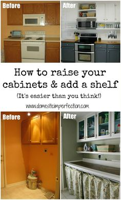 Tutorial on how to get rid of the space above your cabinets and turn it into usable shelf space. Super budget friendly!