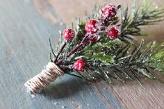 Wedding Boutonniere Holiday Groom Rustic Pine and Berry by deLoop, $19.00