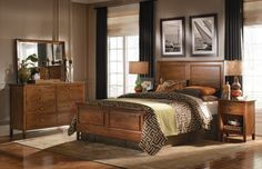 Kincaid's Cherry Park bedroom combines embodies clean, contemporary style. Crafted from cherry solids, the group is built for modern living. The handsome panel bed is the focal point of a stylish bedroom suite. Beds available in queen or king size.  http://www.jordans.com/Beds/BZ2063100.aspx  http://www.jordans.com/Dressers/B00063100.aspx  http://www.jordans.com/Nightstands/B40063100.aspx