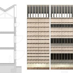 New school, Ursy / TEd'A arquitectes Timber Architecture, Architecture Graphics, Architecture Details, Architecture Drawings, Architecture Portfolio, Elevation Drawing, 3d Modelle, Brick Facade, Architectural Section