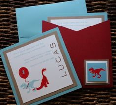 I love everything about this invitation, especially the colors. Maybe the dinosaurs could be different animals?
