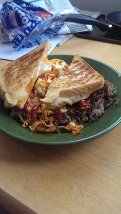 Hangover Grilled Cheese, eggs over easy and hash browns