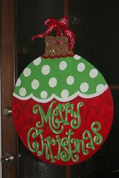 Good Christmas door decoration--inside or out! Christmas Yard, Christmas Signs, Christmas Balls, Christmas Projects, All Things Christmas, Holiday Crafts, Merry Christmas, Christmas Holidays, Holiday Fun