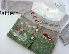 Pattern baby cardigan.Cardigan with embroidery .knitted baby