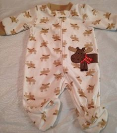 Carters Baby Infant Footed Winter Scarf Moose Reindeer Pj Pajamas Size 3m Months