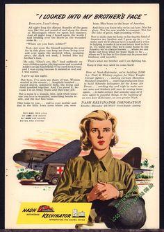 1943 WW II US Army NURSE  Ambulance Nash Kelvinator Patriotic WWII WW2 AD