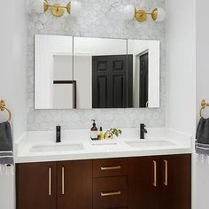 Brown Dual Washstand with Long Brass Pulls