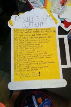 21st birthday checklist sign! 21st beer checklist
