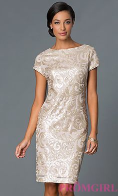 Gold Knee Length Cap Sleeve Sequin Print Dress at PromGirl.com IT-111515