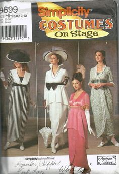 Simplicity 9699 Hard to Find Titanic Dress Costume Sewing Pattern Sz 6-12 via Etsy