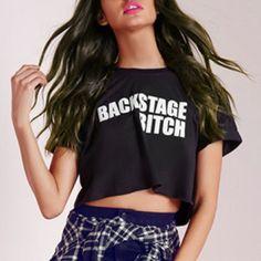 backstage bitch| $8.86  nu goth punk grunge pastel goth hipster fachin slurs crop top tshirt top tee under10 under20 under30 rosewholesale