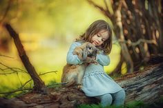 девочка, кролик, детская фотосессия с животными