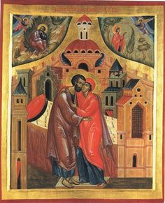 New Liturgical Movement: In the icon below, the upper left shows St. Joachim in the desert, where he has gone to mourn his and Anne's barrenness, for the sake of which his offering in the temple had been refused. An angel has come to tell him to return to Anne, and that God will grant them a child who will become the Mother of the Redeemer. In the upper right, the same message is delivered to Anne herself.
