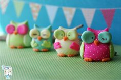 Fondant Owl Cupcake or Cake Toppers