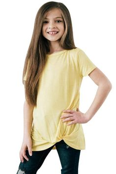 Girls Yellow Short Sleeve Tops