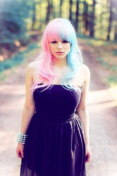 half and half cotton candy hair. I wish I'd done this to my hair before I went au'natural