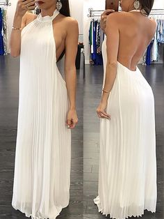 Boho Prom Dresses, Stylish Halter Pleated Open Back Maxi Dress OHbridal Long Prom Gowns, Prom Dresses, Summer Dresses, Open Back Maxi Dress, Dress Outfits, Fashion Outfits, Popular Dresses, Stylish Dresses, Look Cool