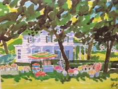 House w/ Yellow blooming Tree - John Botz