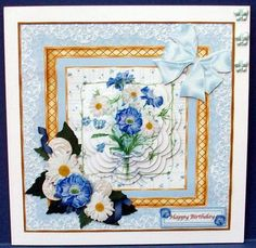 Cornflowers Daisies on Craftsuprint designed by June Young - made by Cheryl French - Printed onto glossy photo paper. Attached base image to card stock using ds tape. Built up image with 1mm foam pads. Attached insert using ds tape. Added blue butterfly gems. - Now available for download!