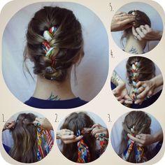 How-To Hair Girl   Sail away scarf braid.