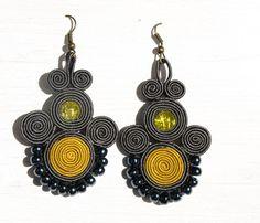 Grey and yellow hand embroidery soutache earrings by ShoShanaArt, $24.00