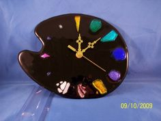 fused glass clock | Palette Clock, fused glass clock, dichroic glass, fused glass, clock ...