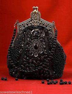 Gothic-Lolita-Handtasche-Vintage-Perlen-Victorianisch-Tasche-Hochzeit-Bag-LARP