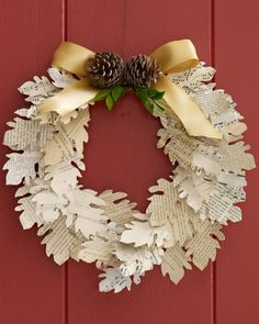 Paper Leaf Wreath (template is provided)