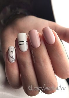 Pink and white naildesign with marble design