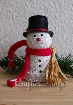 Adorable! Clay Pot Snowman from a clay pot, styrofoam ball, paint and trim.