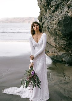 Long Sleeve Lace Boho Bridal Gown | Boho Lace Bridal Gown Indie Wedding Dress, Cotton Wedding Dresses, How To Dress For A Wedding, Open Back Wedding Dress, Bohemian Wedding Dresses, Wedding Dress Sleeves, Long Sleeve Wedding, The Dress, Dress Lace