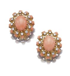 Pair of coral and diamond ear clips, Van Cleef & Arpels, 1970s