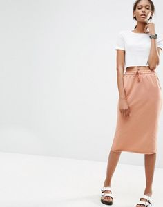 Pin for Later: 35 Stylish Items You Won't Regret Wearing on the Plane  ASOS Midi Pencil Skirt in Sweat With Drawstring Waist ($41)
