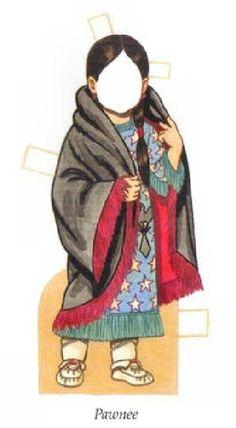 Little Indian Girl PAWNEE. Indická dívka v šatech z Pawnee.